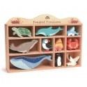Drewniane figurki do zabawy - zwierzęta morskie, Tender Leaf Toys