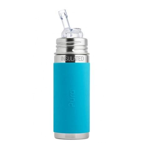 Termobutelka ze słomką 260 ml, niebieska, Pura