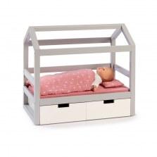 Drewniane łóżeczko dla lalek biało-szare domek VIOLA, Musterkind