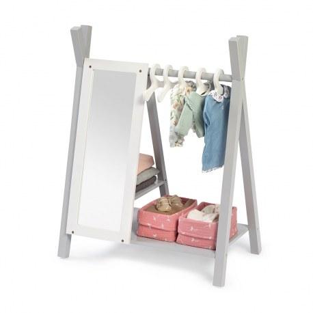 Drewniana garderoba na ubranka dla lalek biało-szara VIOLA, Musterkind