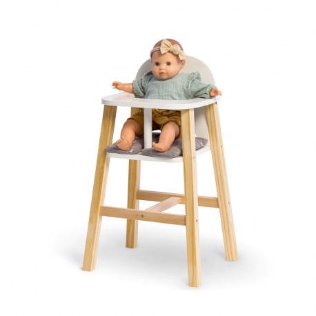 Drewniane krzesełko do karmienia lalek białe VIOLA, Musterkind
