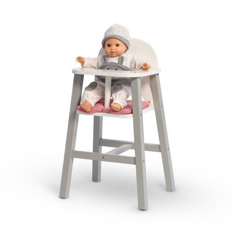 Drewniane krzesełko do karmienia lalek szare VIOLA, Musterkind