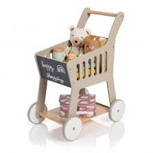 Drewniany wózek na zakupy szary, naturalne drewno, MUSTERKIND®