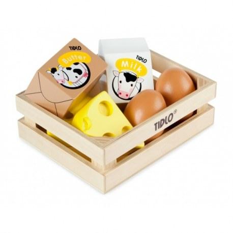 Jaja i nabiał drewniany zestaw, Tidlo