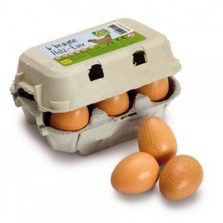 Jajka brązowe w pudełku 6 szt, Erzi