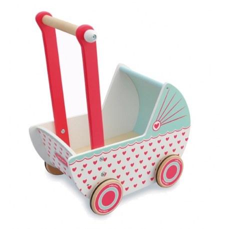 Drewniany wózek dla lalek serduszka, Indigo Jamm