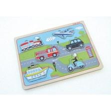 Drewniane puzzle dźwiękowe Pojazdy transportowe, Indigo Jamm