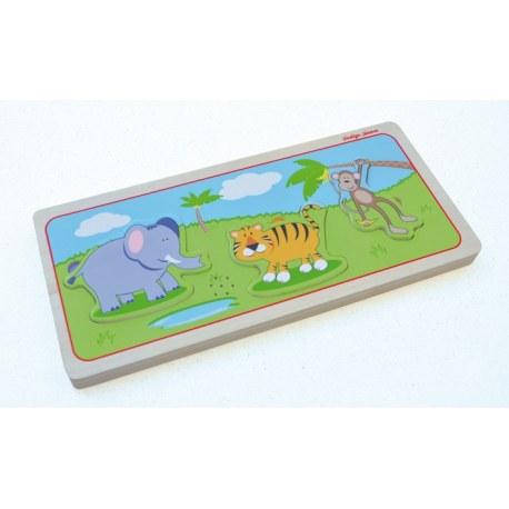 Drewniane puzzle dźwiękowe Zwierzęta dzikie, Indigo Jamm