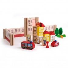 Drewniana zabawka straż pożarna, Erzi