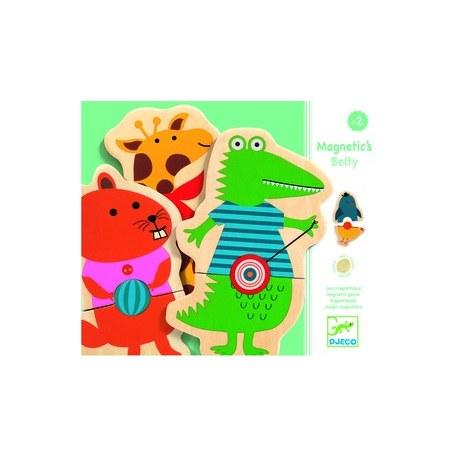 Puzzle drewniane magnetyczne Zwierzątka z brzuszkami, DJECO