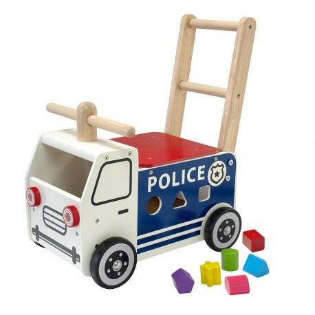 Drewniany Jeździk pchacz Pojazd policyjny, I'm Toy