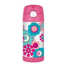 Bidon termiczny dla dzieci z ustnikiem słomką FUNtrainer kwiatowy 0,35l, Thermos