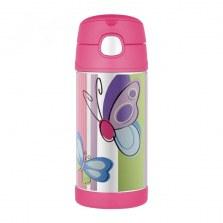 Bidon termiczny dla dzieci z ustnikiem słomką FUNtrainer motylek 0,35l, Thermos