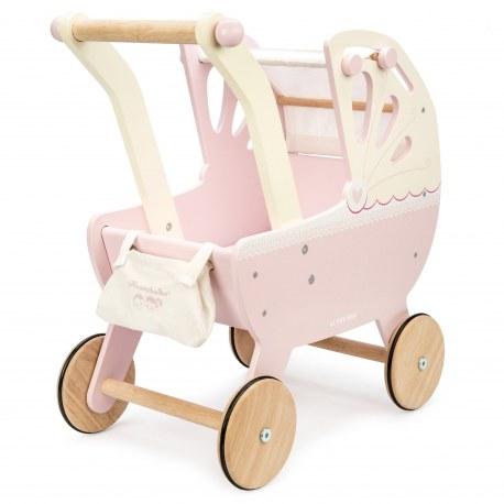 Drewniany wózek dla lalek pudrowy roż, Le Toy Van