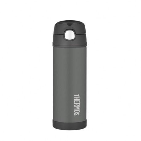 Bidon termiczny dla dzieci z ustnikiem słomką FUNtrainer czarny 0,47l, Thermos
