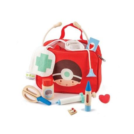 Zestaw lekarski w czerwonej torbie, Tender Leaf Toys
