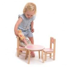 Drewniany stolik i krzesełka dla lalek, Tender Leaf Toys