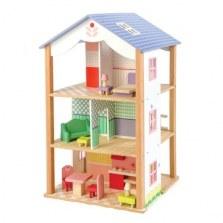 Drewniany domek dla lalek z mebelkami, Tender Leaf Toys