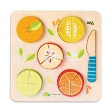 Drewniana układanka edukacyjna dzielenie owoców, Tender Leaf Toys