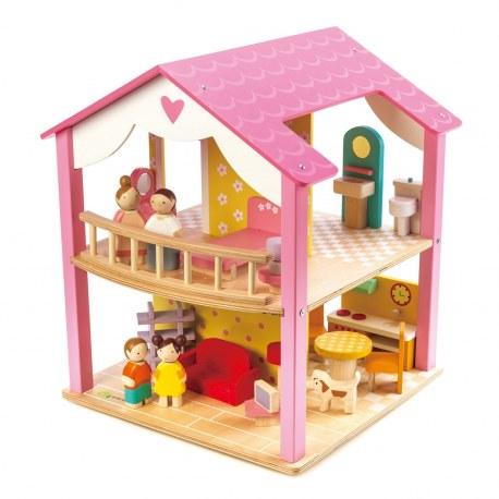 Drewniany domek dla lalek z mebelkami różowy, Tender Leaf Toys