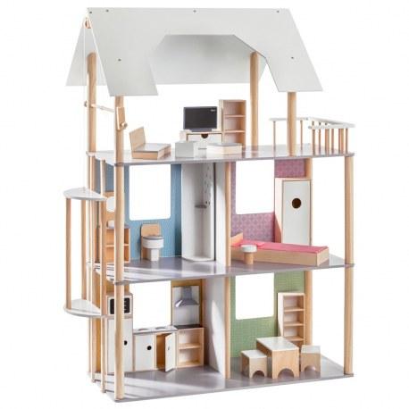 Drewniany domek dla lalek wraz z wyposażeniem, Howa