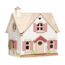 Drewniany domek dla lalek z mebelkami chatka Cottontail, Tender Leaf Toys