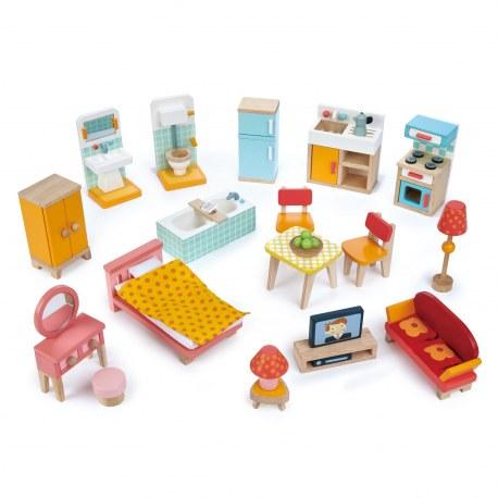 Drewniane mebelki do domku dla lalek styl miejski, Tender Leaf Toys